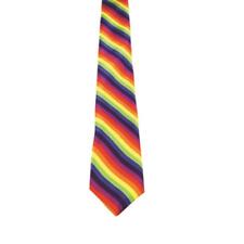 Mens Womens Rainbow Tie Skinny Striped Necktie Smart Party Slim