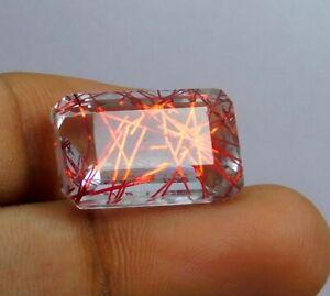 17.00 Ct Brazil Ru-tiled Quarts Red Topaz Emerald Cut Loose Gemstone S-6870