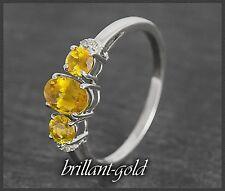 Diamant & Citrin Gold Ring 1,55 ct; Damen 10 Karat Weißgold, Diamantring NEU