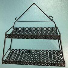 Vintage 50s 60s Mid Century Modern Pierced Metal Triangle Black Wall Shelf