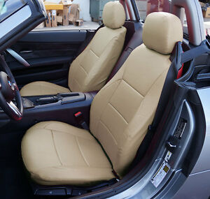 BMW Z4 2003-2008 BEIGE IGGEE S.LEATHER CUSTOM FIT FRONT SEAT COVERS