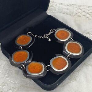 RETRO 60s Mod Inspired Bracelet Orange Brown White marbled Atomic Square Panel