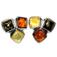 1.6g Authentic Baltic Amber 925 Sterling Silver Earrings Jewelry N-A8368