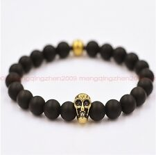 Fashion Natural Obsidian Bead 8mm Gold-plated Skulls Lucky Man Pray Bracelets