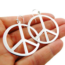 Large Sterling 925 Silver Hoops Peace Sign Circle Earrings