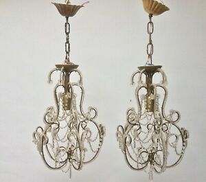 Vintage French Crystal Bead Lighting Lamp Chandelier Cage Shabby Pair