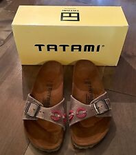 Tatami Madrid Applique Sandals Antik Grey/Rosewine Leather Women 8 Men 6 BNIB