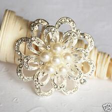Rhinestone Crystal Pearl Brooch Wedding Cake Decoration BR056