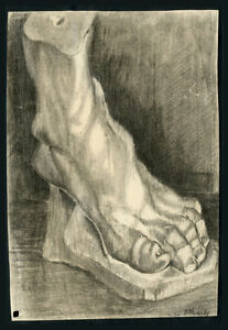 1924 Charcol Study of Plaster Foot Signed Bill Lundy Drawing