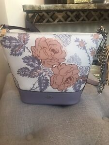 Coach Small Paxton Duffle With Thorn Roses Print Purple multi /Silver