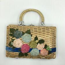 Vintage 1950s Simon Box Purse 50s Wicker Velvet Flowers Floral Rare