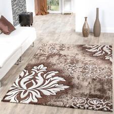 Moderner Teppich Wohnzimmer Kurzflor Teppich Blumen Muster Braun Creme