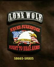LONE WOLF  and NEVER SURRENDER Small Patches Set for Biker Vest Jacket