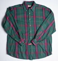 Vintage LL BEAN Rangeley flannel shirt Green plaid cotton Men's XL Tall XLT