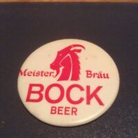 Vintage Meister Brau  Bock Beer Advertising Pinback Button and Sticker