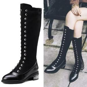 Big Size 34-48 Womens Rivet Knee High Riding Boots Pointy Toe Biker Gothic Shoes