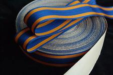 "BTY 1 yard 1 3/8"" orange blue moire vtg striped rayon grosgrain ribbon millinery"