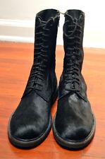 Ann Demeulemeester Men's Black Horse Hair Mid-Calf Combat Boots - EU size 42