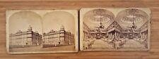 VTG LOT 2 ca 1890 STEREOVIEW CARDS WINDSOR HOTEL MONTREAL OUTSIDE, DINING ROOM