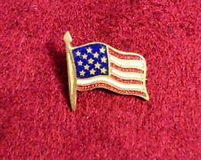 Vintage Detailed Small Gold Tone Enamel Flag Pin c-clasp fourth of july button