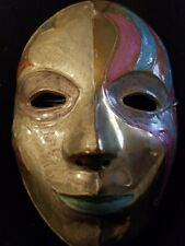 Vintage painted Solid Brass Wall Decor Art Face Mask Made in India