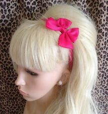 NEW HOT PINK GROSGRAIN RIBBON BOW HAIR BAND STRETCH ELASTIC HEADBAND GIRLS CUTE