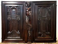 PAIR ARCHITECTURAL CABINET DOOR ANTIQUE FRENCH CARVED WOOD SALVAGED FURNITURE