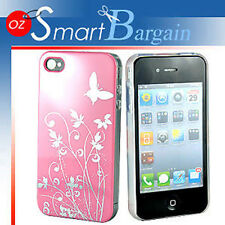New Pink Butterfly Hard Cover Case For iPhone 4G 4GS + Screen Protector