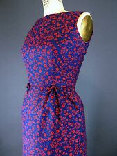 VTG 50s 60s Navy & Red Floral Cherry Print Wiggle Sheath Day Dress XS S