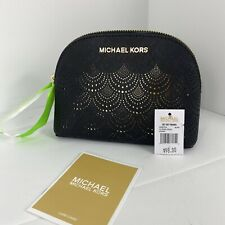 Michael Kors Cosmetic Bag Jet Set Large Travel Dome Black Leather Top Zip M2