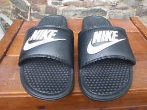 NIKE Men's Black & White Benassi Just Do It JDI Slides Sandals New, No Box