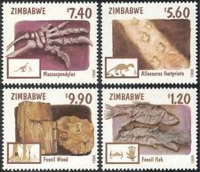 Zimbabwe 1998 FOSSILI DINOSAURI// PESCE/PREISTORICO/Animali/NATURA SET 4 V (n15837)