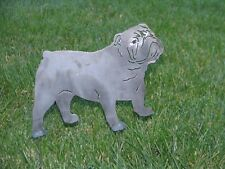 Bulldog Dog yard garden art statue stake home decor metal steel