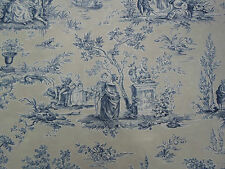 Sanderson Curtain Fabric 'Josette' Indigo/Taupe 3.4 METRES - Fabienne Prints