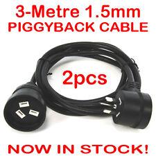 2x 3 Metre H/Duty Extension Lead Piggy Back Black Mains Cable Piggyback 1.5mm 3M
