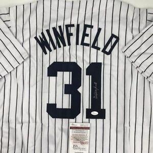 Autographed/Signed DAVE WINFIELD New York Pinstripe Baseball Jersey JSA COA Auto
