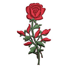 Red Rose with Stem Applique Patch (Iron on)