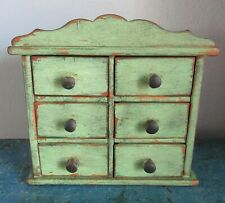 Tiny Antique 6 Drawer Spice Cabinet/Box/Cupboard/Apothecary/Chest-Green Paint