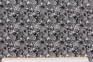 Kunstleder / Lederimitat bedruckt, kleines Paisley, weiß/schwarz, Rest 35x138 cm