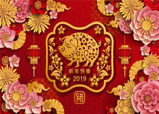 7X5FT Happy Chinese New Year 2019 Paper Flowers Vinyl Studio Backdrop Background