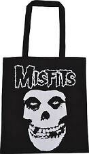 MISFITS NEGRA, 100% Algodón Eco Bolso Cráneo Horror Punk Goth vida reutilizable