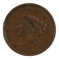 Raw 1834 Coronet Head 1C Large 8 N-3 US Copper Large Cent Coin