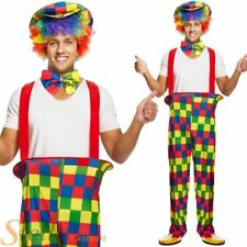 Adult Circus Clown Costume Unisex Fancy Dress Costume Trousers Hat Bow Tie