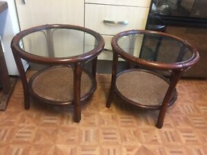 Pair of Vintage Bamboo / Wicker Conservatory side Tables