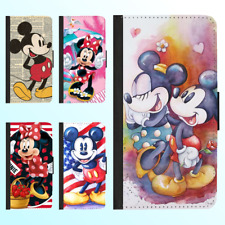 Galaxy S9 Plus Note 9 8 Leather Flip Wallet Case Disney Mickey Minnie II Cover