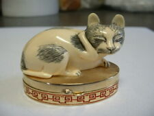 "Estee Lauder Solid Perfume Compact ""Ivory Series Contented Cat"" Empty"
