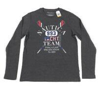 Nautica Mens Long Sleeve T-Shirt Graphic Yacht Team Gray Variety Sizes