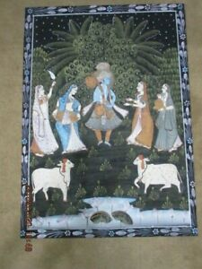 LG 1980s Lord Krishna Pichwai HINDU Trad'l Hand PaintedCloth Wall Hanging Goats