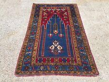£950 Turkish Vintage Prayer Rug vegetable dye170x100cm Persian Afghan Tribal
