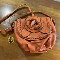 3D Rosette handbag orange small with silver accents.  Long strap